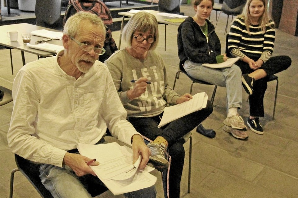 Det er lærerne Gitte Snebang og Ole Bjørn, der sammen med eleverne har skrevet stykket. Det er også de to lærere, der instruerer.Foto: Jørgen Ingvardsen Jørgen Ingvardsen