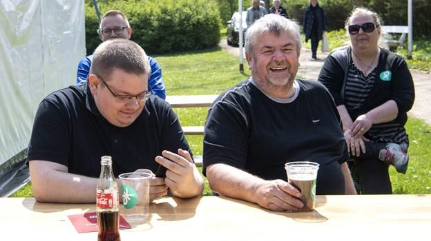 LO-formand Frits Sørensen i midten, var meget tilfreds med 1. maj arrangementet. Foto: Laura Guldhammer Foto:  Laura Guldhammer