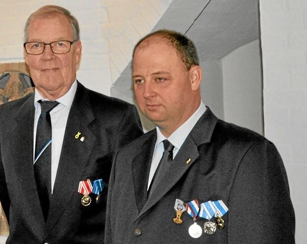 Afgående og tiltrædende formand. Fra venstre Poul Sonne og Johnni Olesen.Foto: Ole Torp