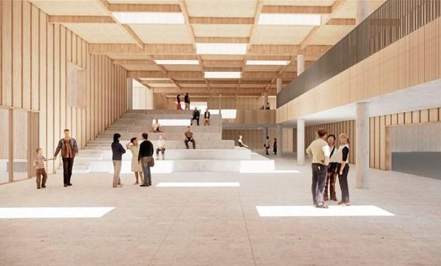Byggeriet af Vrå skole og Børnehus har et samlet budget på 178 mio. kroner. Visualisering: Jaja Architects