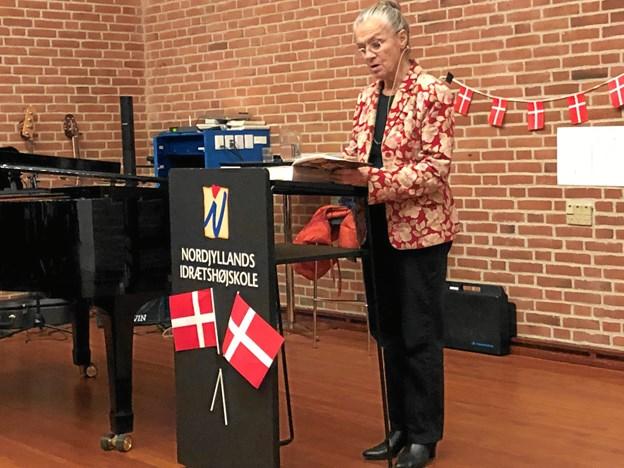 Ritt Bjerregaard fik efter en velkomst af Johannes Bjerre ordet. Privatfoto