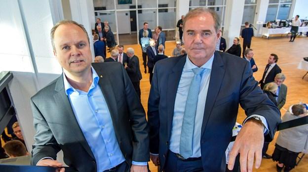 Martin Pedersen, til venstre,og Kaj Christiansen har arbejdet sammen i FME i 20 år. Deres veje skilles ikke helt, for Kaj vil fortsat have nogle konsulentopgaver i huset. Foto: Kim Dahl Hansen Foto: Kim Dahl Hansen
