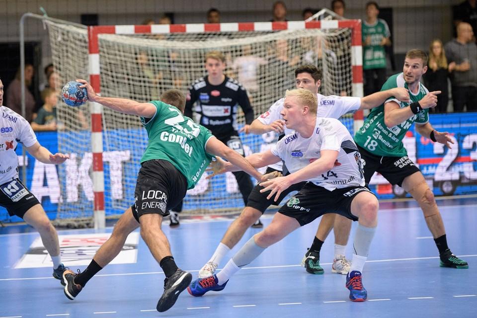 Foto: Peter Broen. Aalborg Håndbold gæster Skjern i den sidste kamp i Herre Håndbold Ligaen inden vinterpausen.