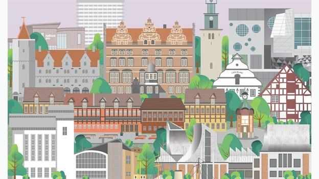 Alle Aalborgs smukke bygninger og monumenter kunne ikke være på én enkelt plakat, derfor er der lavet to. PR Foto