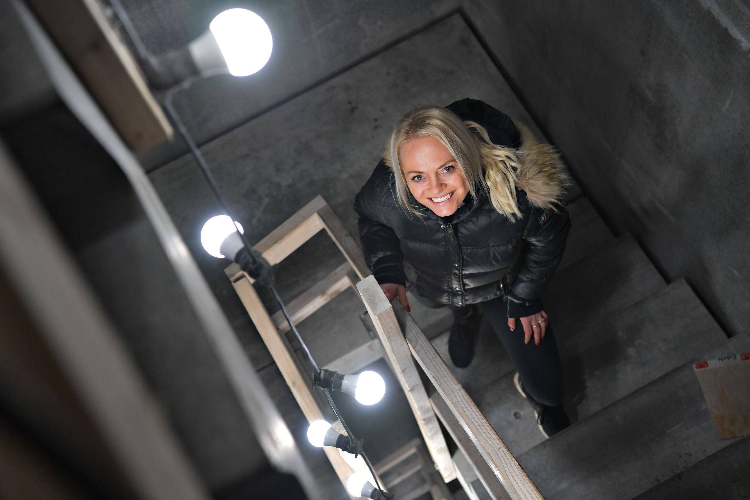 Der er masser af trapper, hvor pulsen kan komme op i Boxits tårn. Foto: Claus Søndberg