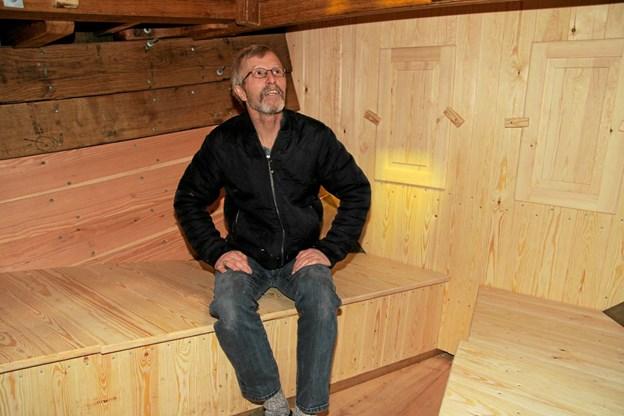 Formand Søren Petersen sidder i den nye kahyt. Flemming Dahl Jensen