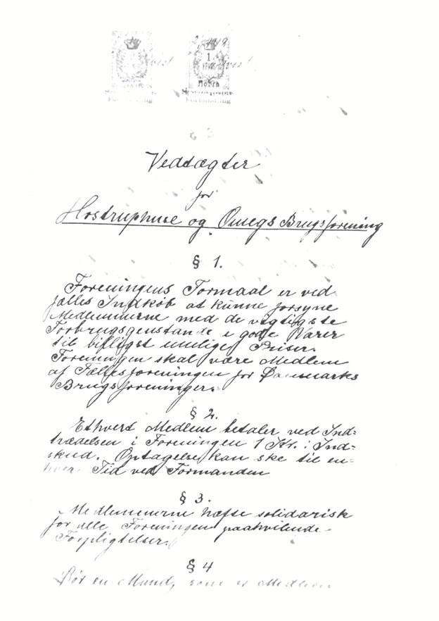 De første vedtægter for Hostruphuse & Omegns Brugsforening for 100 år siden.