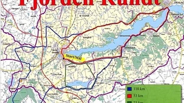 Ruterne er på hhv. 110, 53 og 23 km, når det 10. juni går løs med årets udgave af motionscykelløbet Fjorden Rundt med start i Hobro. Privatfoto