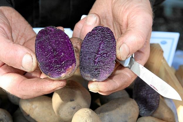 Blå congo-kartoffel.