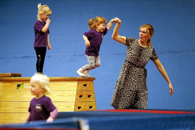 To forældre/barn-hold var på gulvet. Foto: Allan Mortensen Allan Mortensen
