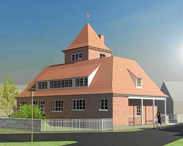 Den gamle Plesnerbygning, som den kan komme til at se ud efter modernisering og fjernelse af tilbygningerne. Ill. fra lokalplan