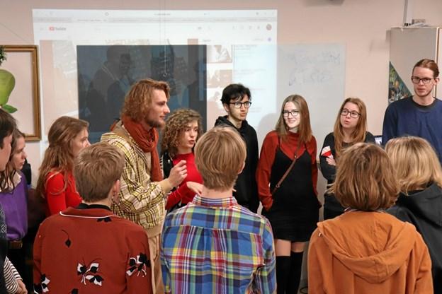 Eleverne på Klejtrup Musikefterskole var helt klar til en anderledes undervisningsdag.   Privatfoto