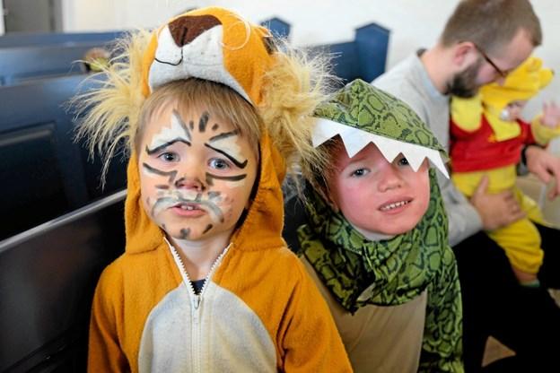 Carl Christian og Laurits var en farlig løve og krokodille. Foto: Niels Helver Niels Helver
