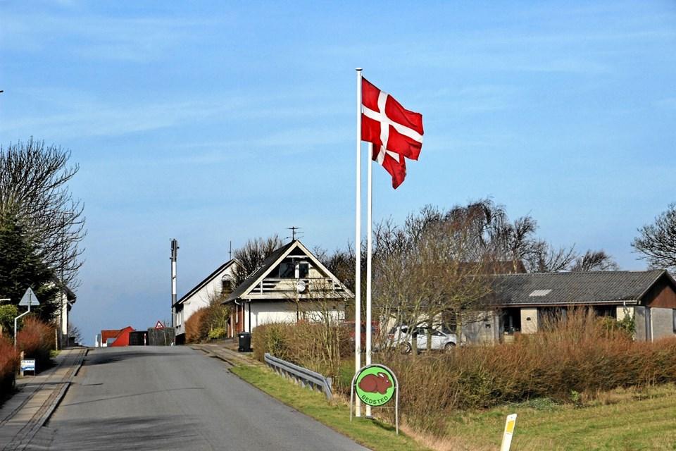 Flagene var i top i Bedsted da pladsen blev indviet. Foto: Hans B. Henriksen Hans B. Henriksen