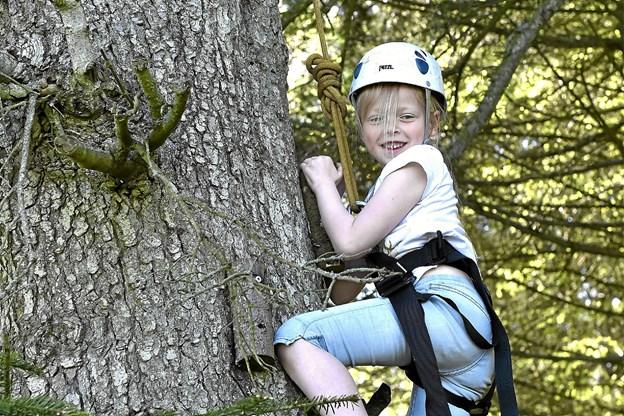 Flere tog hele turen til toppen 17 meter oppe, hvor der skulle ringes med klokken. Seks-årige Clara nøjedes med 4 meter. Men det var også sjovt. Foto: Ole Iversen