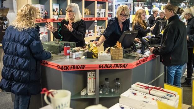 Der var travlhed i butikkerne. Foto: Martin Damgård