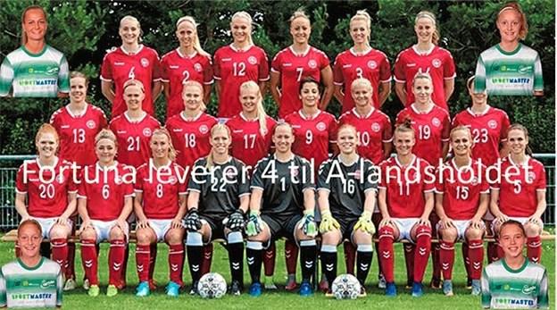 Sara Holmgaard er for første gang med i A-landsholdstruppen, så er Emma Snerle med for anden gang, Karen Holmgaard og Frederikke Thøgersen er blandt de mere rutinerede A-landsholdsspillere.