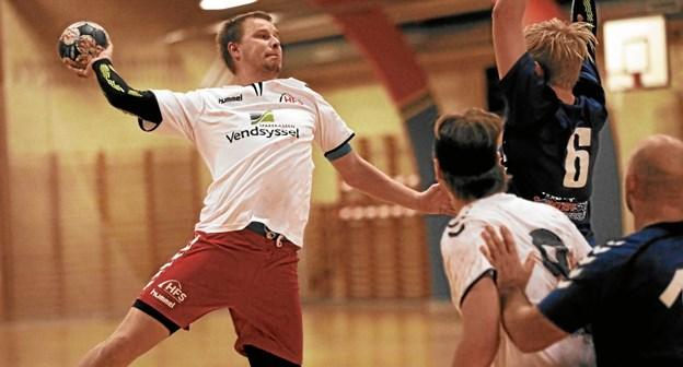Hals' håndboldherrer i serie 3 vandt forårets første kamp med cifrene 25-20 hjemme over Øster Brønderslev. Foto: Allan Mortensen
