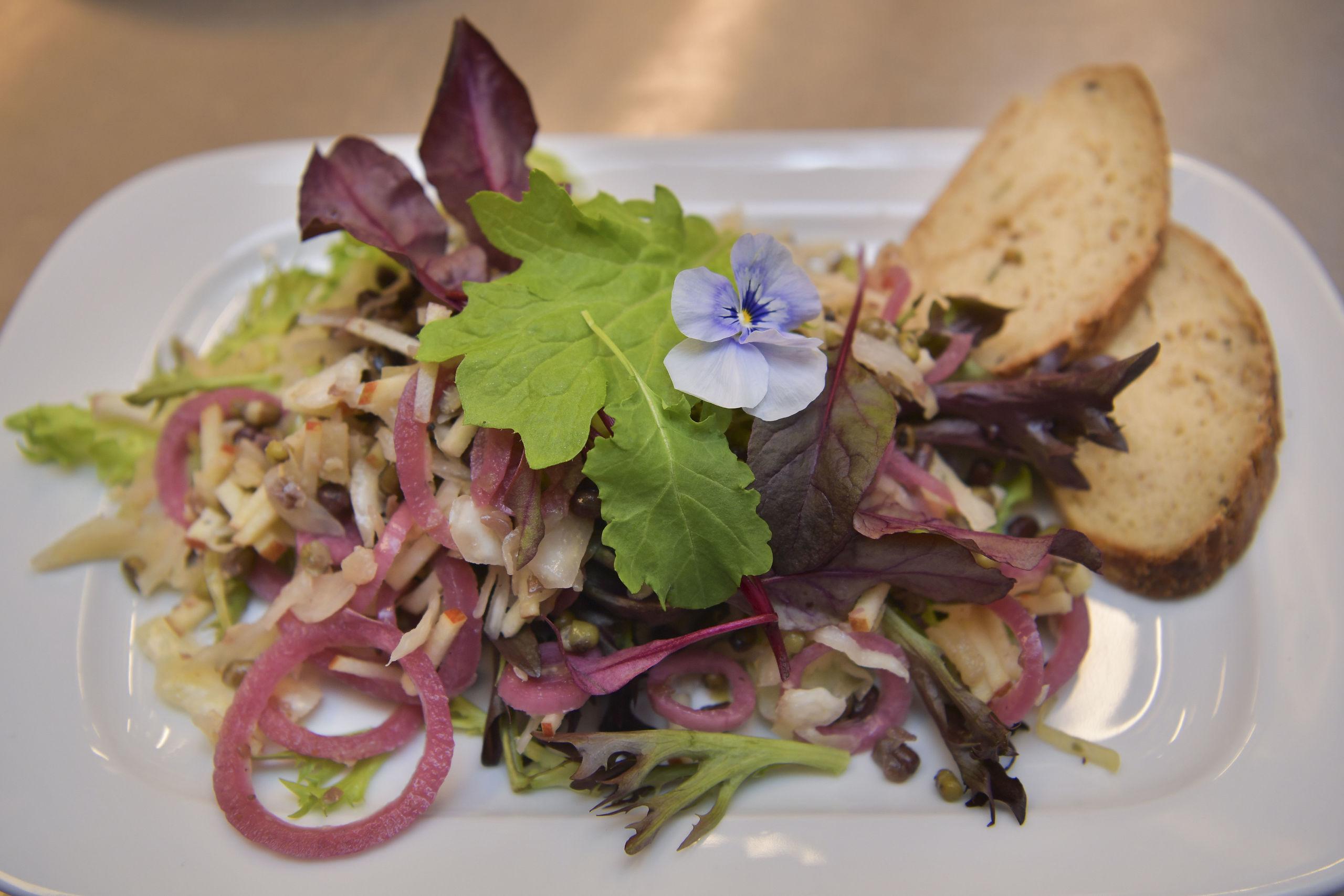 Vil man undgå animalske produkter, kan man bestille ugens salat/veganerret på Teatercaféen. Foto: Claus Søndberg