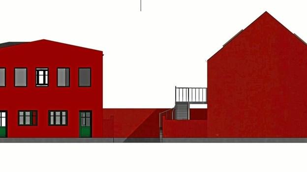 """Nabo-ejendommene i Vendelbogade/Nørregade. Projektet skal hedde """"Krummegården"""" - og mon ikke de fleste kan gætte, hvem der skal klippe den røde snor, når renoveringen er færdig ... TEGNING: Sandkildehus"""
