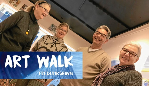 Lone Johannessen, Lotte Dyhrberg, Jan Janus Langthjem og Susanne Sleiborg i gang med forberedelserne til forårets Art Walk Frederikshavn.