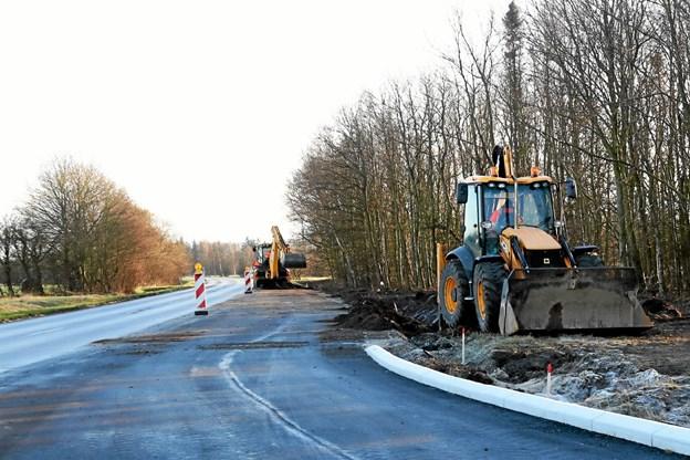 Aalborg Kommune er i færd med at trafiksikre krydset mellem Aalborgvej og Omfartsvejen vest for Gandrup. Foto: Allan Mortensen Allan Mortensen