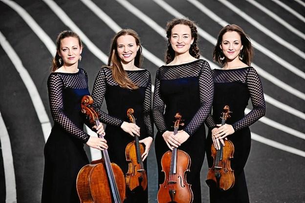 Nightingale String Quartet giver 24. februar koncert på Mariagerfjord Gymnasium - dog med Kirstine Schneider som stand-in for violinisten Gunvor Siem. PR-foto