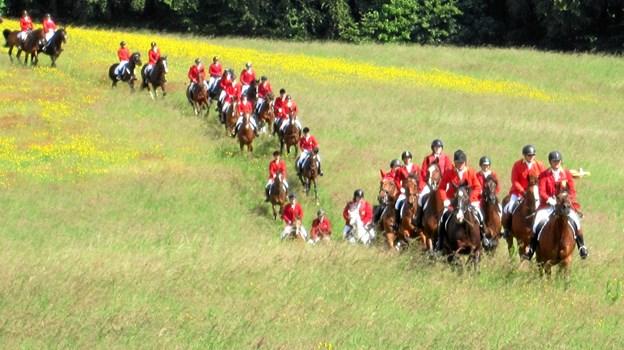 Flot så det ud da de 42 udklædte jagtryttere i samlet flok red frem mod første forhindring i landskabet.
