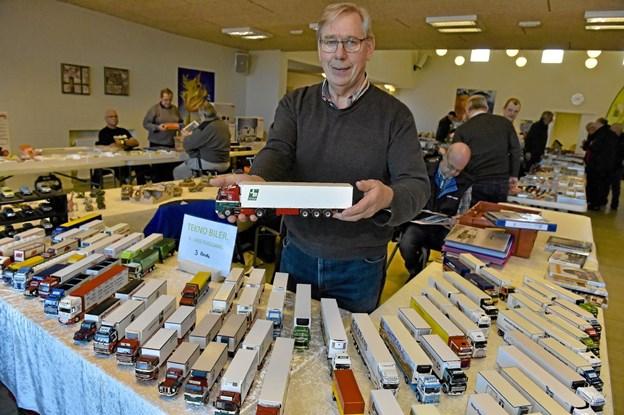 Lars Fuglsang fra Bjerget viste sin imponerende samling af specialfremstillede lastbiler. 300 af dem og 200 personbiler har han i samlingen. Foto: Ole Iversen