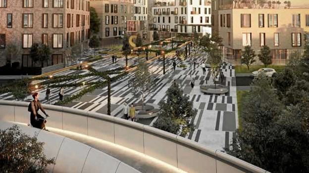 Den nye bydel i Støvring Ådale skal forbindes med resten af byen med en ny bro til cyklende og gående. Illustration: Arkplan