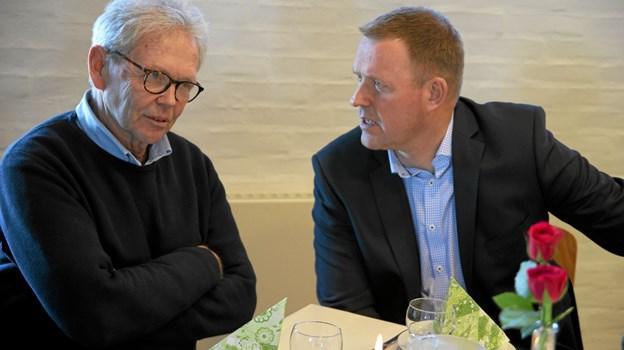 Den nuværende centerinspektør Søren Konnerup og den tidligere Torben Larsen var også til stede ved receptionen. Foto: Flemming Dahl Jensen Flemming Dahl Jensen