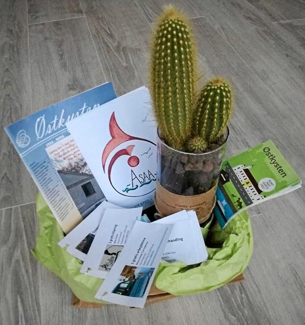 Den flotte velkomstpakke, som overrækkes til alle tilflyttere. Privatfoto