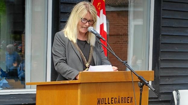 Frederikshavns borgmester, Birgit Hansen, holder jubilæumstale Foto: John Larsen
