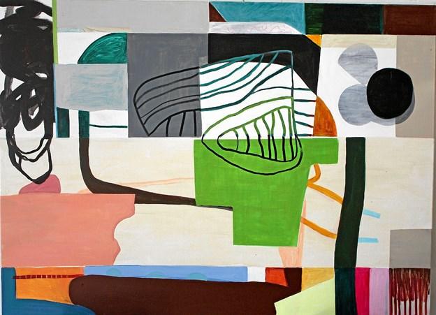"""Linda Lildholdt er bl.a. repræsenteret med dette værk med titlen """"Entangeld Mood"""". Det måler 110 x 150 cm. Privatfoto"""
