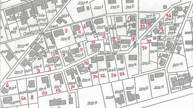 Matrikelkort fra 1932, hvor der stadig er nogle få lakuner på Søndervej. LOKALHISTORISK ARKIV SKAGEN