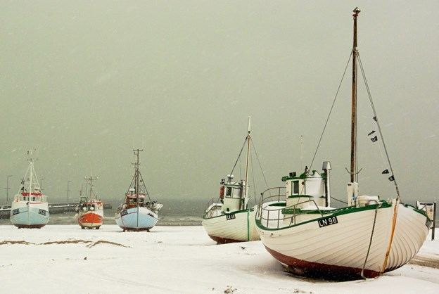 Fiskekutterne i Løkken i vinterpragt. Foto: Gunnar Husebø