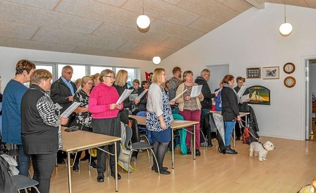 Der var fyldt op i Løgstør Sejlklubs lokaler ved Kulgaarden i Løgstør. Kun en hund deltog. Foto: Mogens Lynge