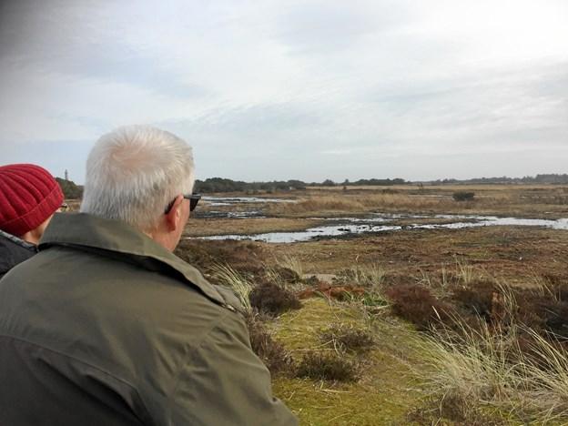 I horisonten kan man ane Det Grå Fyr og fornemmer hvor vådt Grenen kan virke om foråret.. Foto: Marianne  Isen.