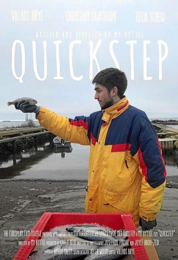 Plakaten til 'Quickstep', som er optaget i Frederikshavn på forskellige locations – her på Neppens Havn.