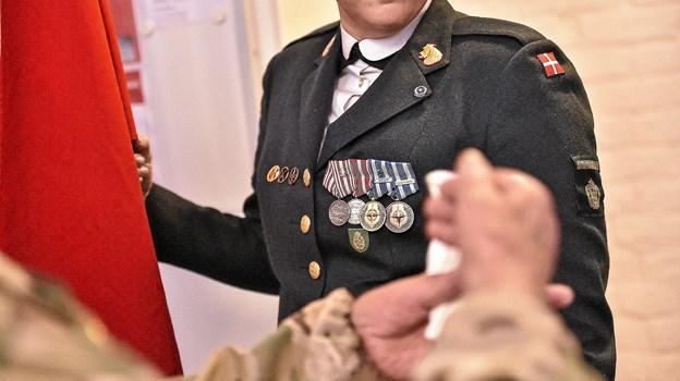 Medaljerne fortalte historien om hvor og hvornår man havde været udsendt. Her medaljer fra Balkan og ISAF (NATOs operation i Afghanistan, red.) Foto: Ole Iversen