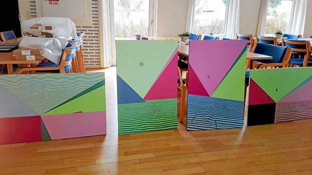 Fire malerier hvis navn alle begynder med Indsigt - Fortid. Fare. Fremtid og Fri. Foto fra opstillingen. Foto: Karl Erik Hansen Karl Erik Hansen