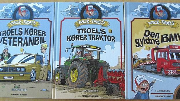 """Bind 3-5 af Jim Højbjergs serie om Truck-Troels - """"en serie for seje drenge om store køretøjer, hestekræfter og fart"""".Pressefoto"""