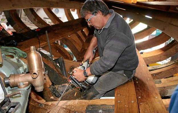 Træskibslauget håber på at få båden i vandet i 2019. Arkivfoto: Flemming Dahl Jensen Flemming Dahl Jensen