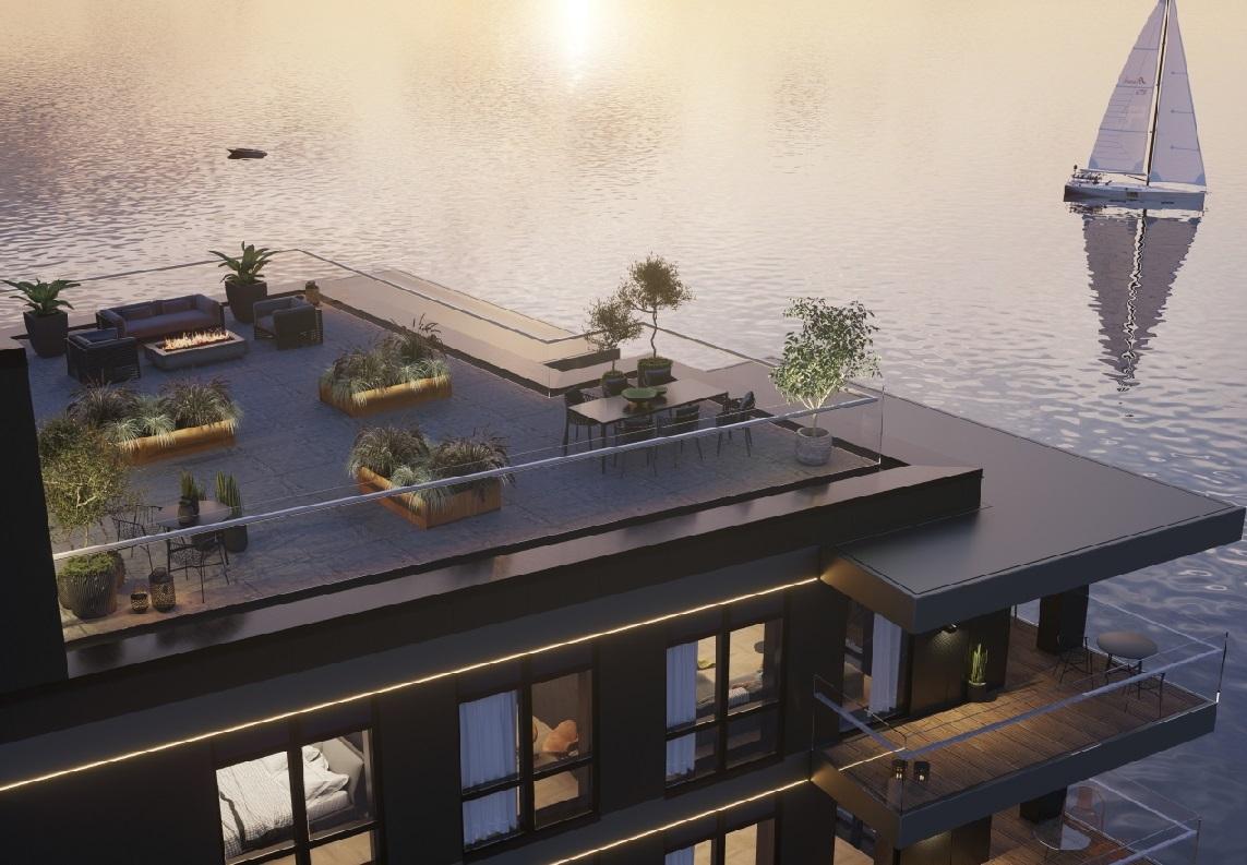 """På taget etableres fælles """"rooftop"""". Luksuslejligheden til 23 mio. kr. på 10. sal ses lige under. Illustration: 2E Group"""