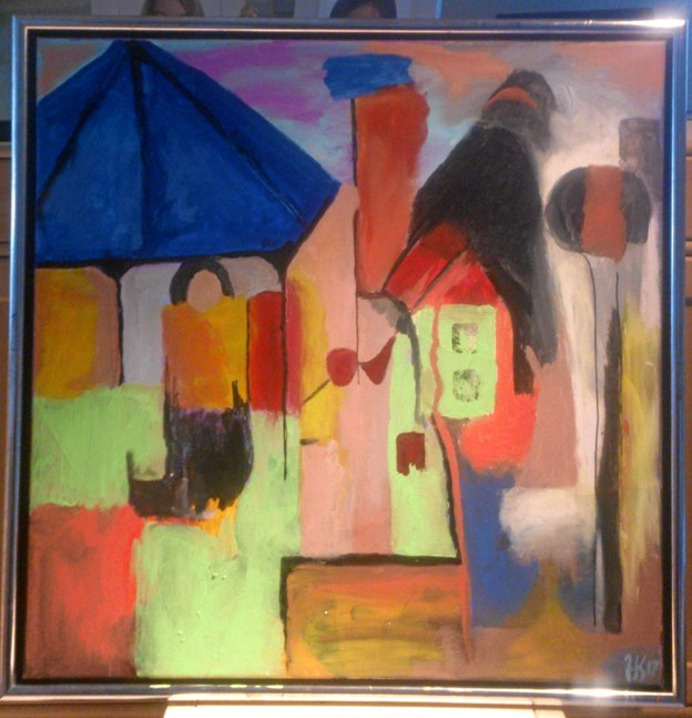 Et eksemplar af Jette Kynebs farvestrålende acrylmalerier. Privatfoto