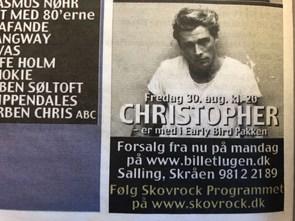 Dårligt nyt til Christopher-fans: Koncert er en and