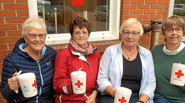 Et stort korps af frivillige indsamlere er klar i Sydthy den 7. oktober. Blandt dem er, (fra venstre): Bodil Hilligsøe, Else Olsen, Kirstine Christensen og Bente Vestergaard. Privatfoto
