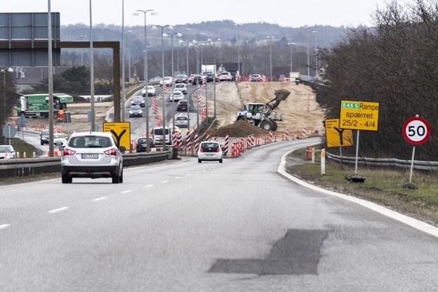 Tilkørslen til E45 spærres i en måned. Foto: Laura Guldhammer