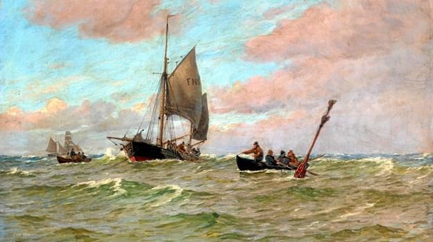 Snurrevoddet sættes af Frederikshavner-kutter maleri af Carl Locher 1898