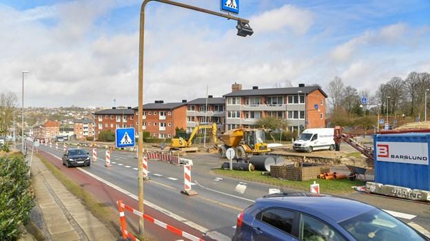 Vejarbejdet på Randersvej og Brogade forventes at være helt færdigt i slutningen af maj. JESPER THOMASEN